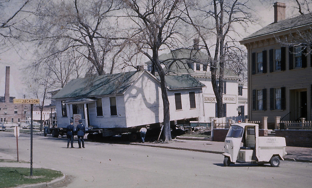 1962: The Corneau House is moved into the lot just north of the Lincoln Home. In 1997, the home was moved again to a lot at the southwest corner of Eighth and Jackson streets. Courtesy Lincoln Home National Historic Site