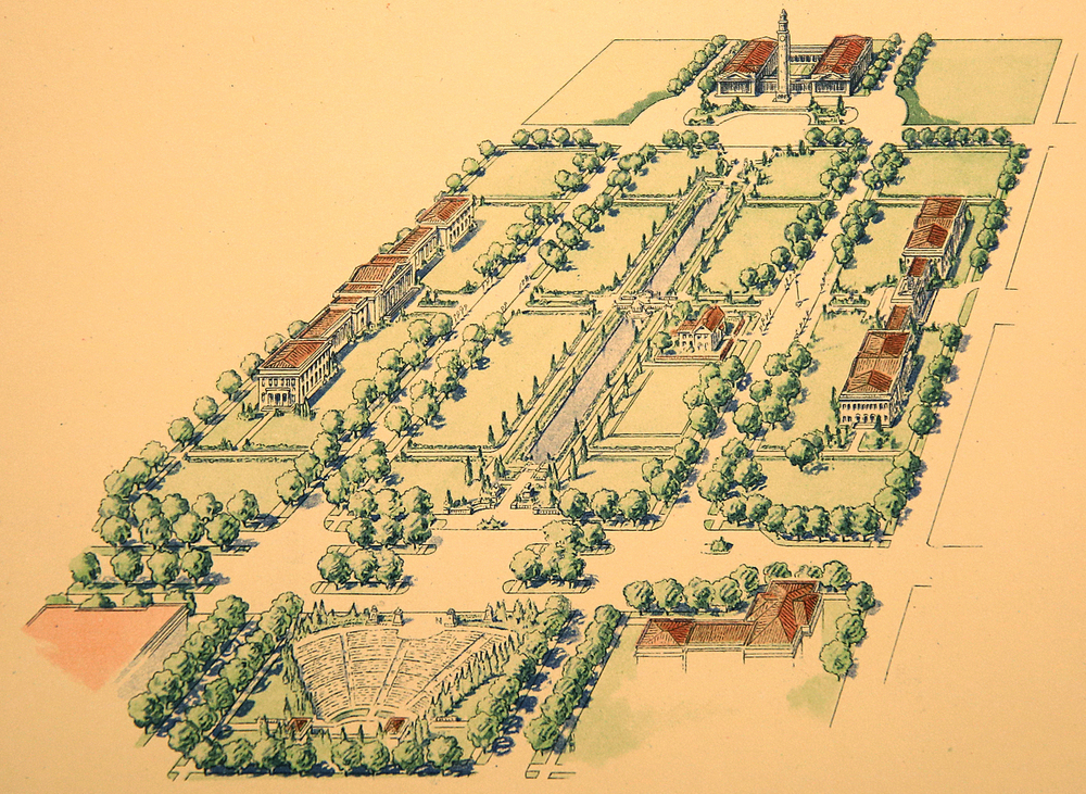 1924: The idea for a comprehensive City Plan for the city of Springfield first began in 1922, when the Springfield City Council authorized a contract between the zoning and planning commission and the Chicago firm of American Park Builders, according to research by Lincoln Home historian Tim Townsend. Although never built, the firm's head-Myron Howard West-envisioned this seven-acre rendering for the Lincoln neighborhood as part of the larger plan, anchored on the south (bottom of frame) by a large amphitheatre and at the north by a municipal complex taking up two and one half city blocks. Drawing from 1925 volume on City Plan for Springfield courtesy Sangamon Valley Collection at Lincoln Library
