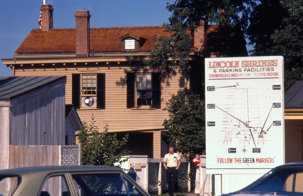 1974: A visitors parking lot was at the rear of the Lincoln Home. Courtesy Lincoln Home National Historic Site online archive