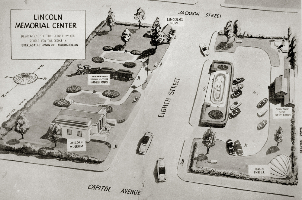 1955: The Lincoln Memorial Center was a failed early attempt at creating a public park around the Lincoln Home anchored at Capitol Avenue by a Lincoln Museum and band shell. Highlights included a display of the train Lincoln traveled on from Springfield to Washington D.C. in 1861 as well as an area across the street from the home featuring a souvenir shop, rest rooms and parking area. Spearheaded by neighborhood resident Frank T. Davis, the land acquisition plan was to raise money by appealing to the African-Americans throughout the United States. Courtesy Sangamon Valley Collection at Lincoln Library