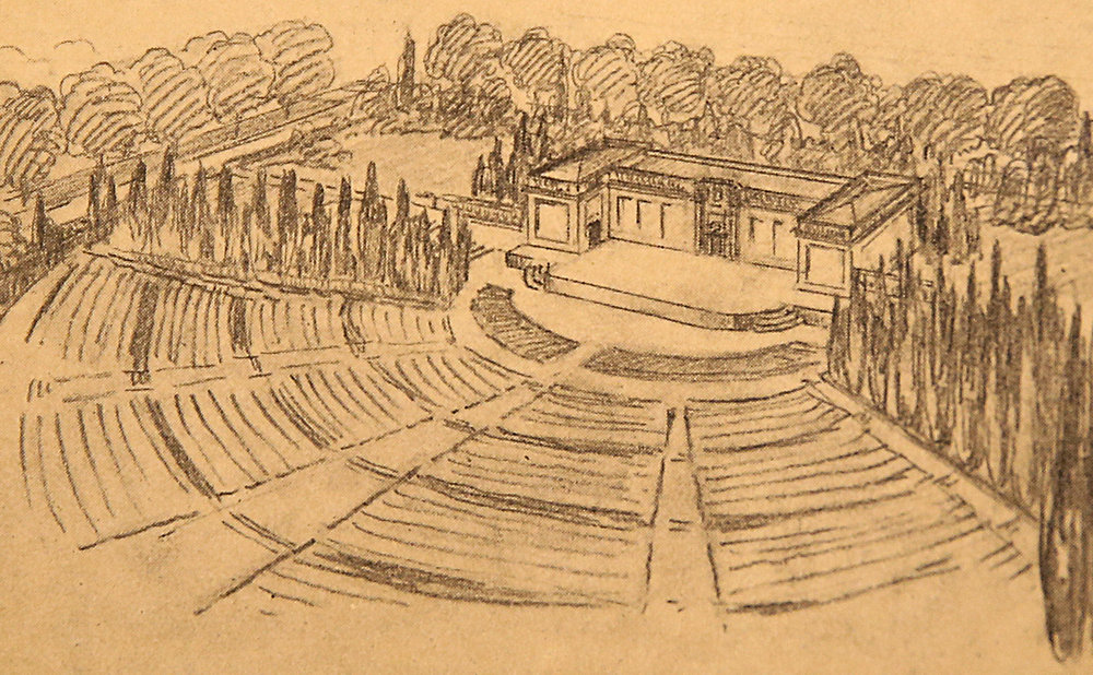 """1924: An open-air forum amphitheatre would anchor the southern end of the Lincoln Home neighborhood as part of the larger City Plan for Springfield. Developer Myron Howard West said it would be appropriate to incorporate the amphitheatre into the overall plan because it would honor Lincoln, """"one who stood for democracy in its broadest principles by the uttered word directly to the masses and with an eloquence which has never been surpassed throughout all the ages,"""" according to research by current Lincoln Home historian Tim Townsend. Courtesy Sangamon Valley Collection at Lincoln Library"""