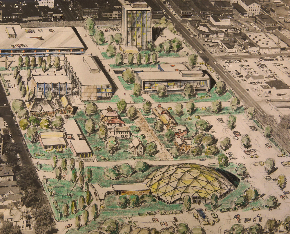 1957: The Springfield Civic Center was another development first proposed in 1955 envisioned for the Lincoln Home neighborhood. This hand-colored drawing for the development was done by Charles Kirchner in 1957. Kirchner was the chief city planner and assistant planning director at the Springfield-Sangamon County Regional Planning Commission. Courtesy Sangamon Valley Collection at Lincoln Library