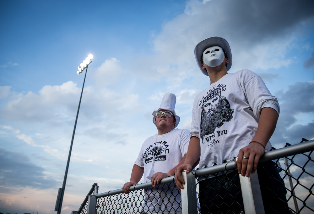 North Mac students Christian McCasland, left, and Caleb Schoondyke get ready to cheer on the Panthers as they take on Auburn at Michael J. Potts Memorial Field, Friday, Sept. 18, 2015, in Auburn, Ill. Justin L. Fowler/The State Journal-Register