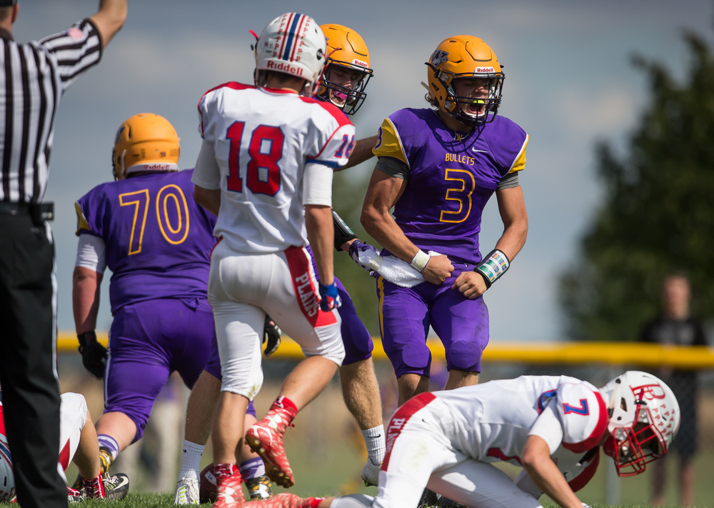Williamsville quarterback Vince Vignali (3) is fired up after a 14-yard touchdown against Pleasant Plains during the second half at Paul Jenkins Field, Saturday, Sept. 19, 2015, in Williamsville, Ill. Justin L. Fowler/The State Journal-Register
