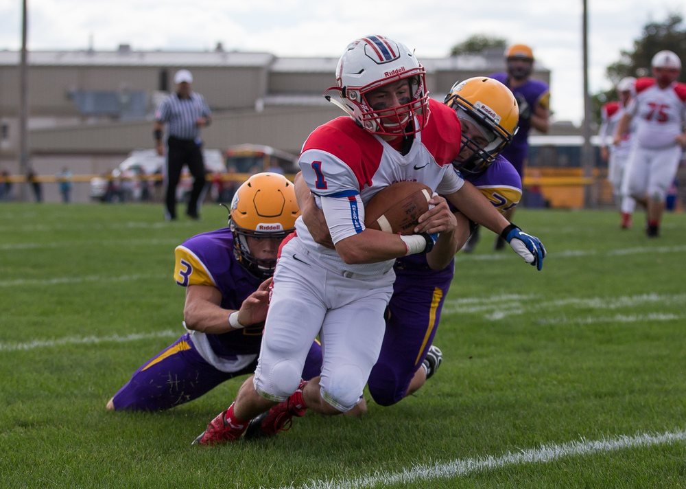 Pleasant Plains' Cole Gree (1) is brought down by Williamsville's Branden Cole (25) after making a reception near the goal line during the second half at Paul Jenkins Field, Saturday, Sept. 19, 2015, in Williamsville, Ill. Justin L. Fowler/The State Journal-Register