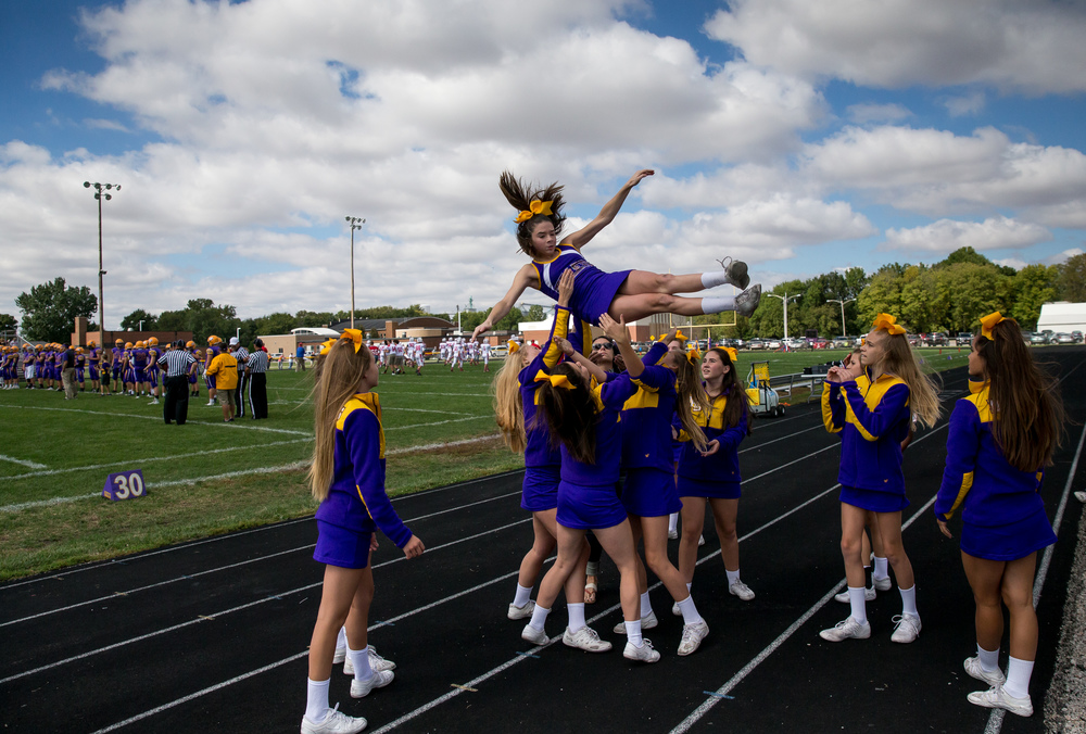 The Williamsville Cheerleaders perform their routines along the sidelines as Williamsville prepares to resume their game against Pleasant Plains at Paul Jenkins Field, Saturday, Sept. 19, 2015, in Williamsville, Ill. Justin L. Fowler/The State Journal-Register
