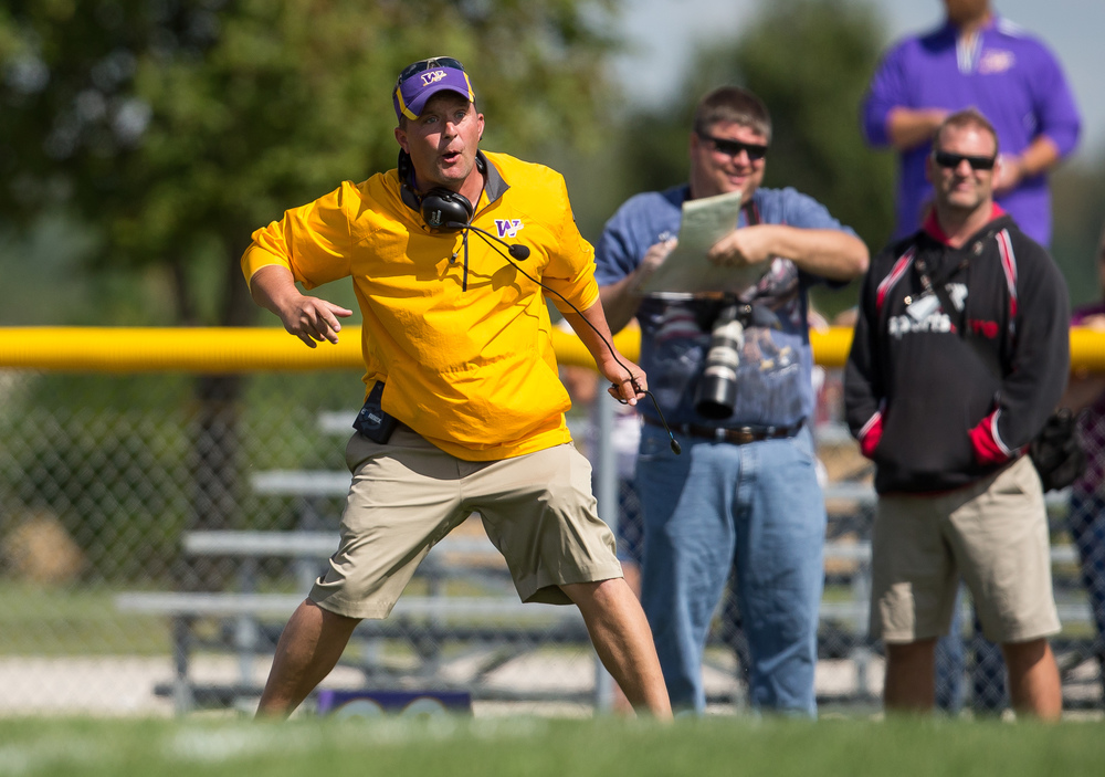 Williamsville head football coach Aaron Kunz is fired up after a touchdown call for Pleasant Plains at the goal line during the second half at Paul Jenkins Field, Saturday, Sept. 19, 2015, in Williamsville, Ill. Justin L. Fowler/The State Journal-Register
