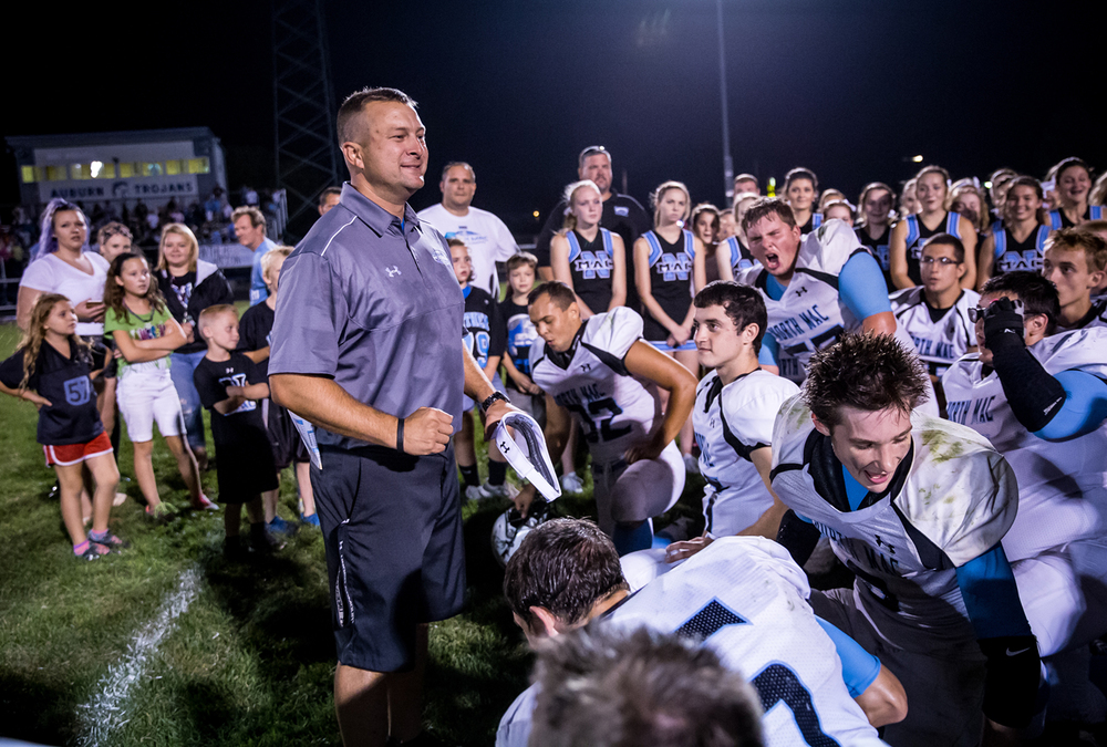 North Mac head football coach Shane Owsley talks to his team after the 35-28 win in overtime against Auburn at Michael J. Potts Memorial Field, Friday, Sept. 18, 2015, in Auburn, Ill. Justin L. Fowler/The State Journal-Register