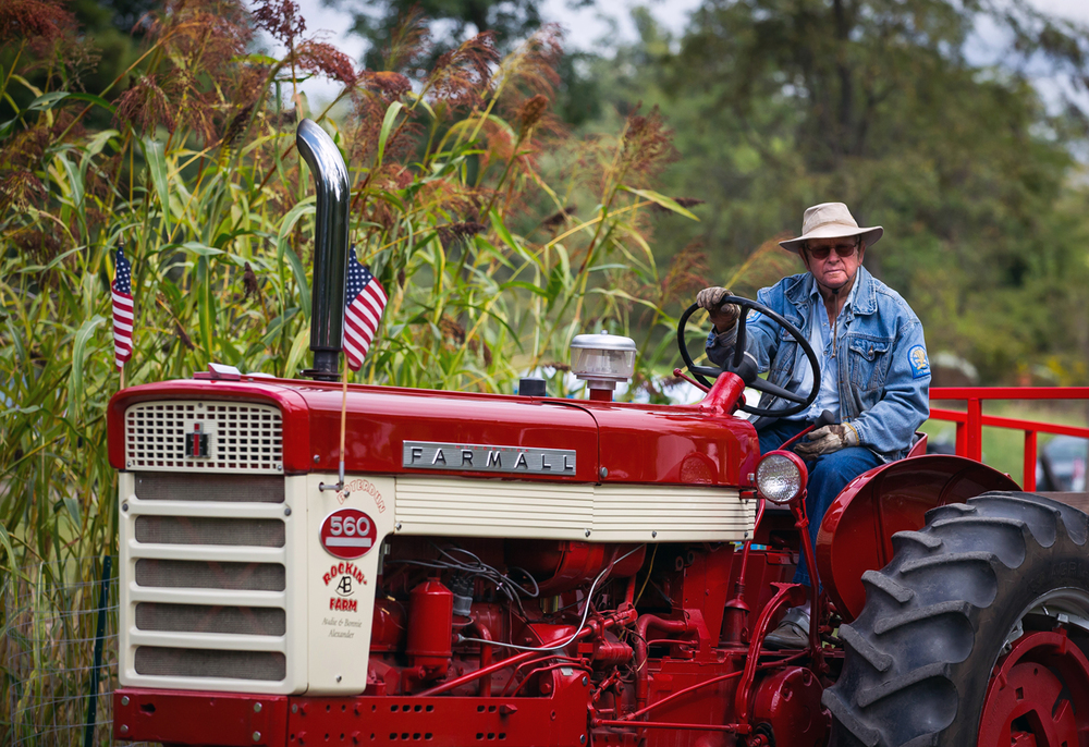 Audie Alexander pilots his Farmall 560 antique tractor  around the Clayville Historical Site providing rides to and from the parking lot during the Clayville Fall Festival, Saturday, Sept. 19, 2015, in Pleasant Plains, Ill. Justin L. Fowler/The State Journal-Register