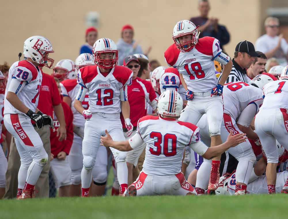 Pleasant Plains' Kevin Ingram (18) leaps up in celebration with Logan McBride (30) after the Cardinals forced a fumble from Williamsville to turn the ball over with a minute left in the second half at Paul Jenkins Field, Saturday, Sept. 19, 2015, in Williamsville, Ill. Justin L. Fowler/The State Journal-Register