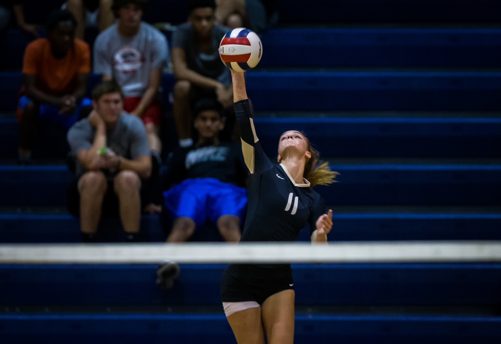 Sacred Heart-Griffin's Emma Hopkins (11) fires off a serve against Lanphier during the Girls City Volleyball Tournament at Southeast High School, Wednesday, Sept. 23, 2015, in Springfield, Ill. Justin L. Fowler/The State Journal-Register