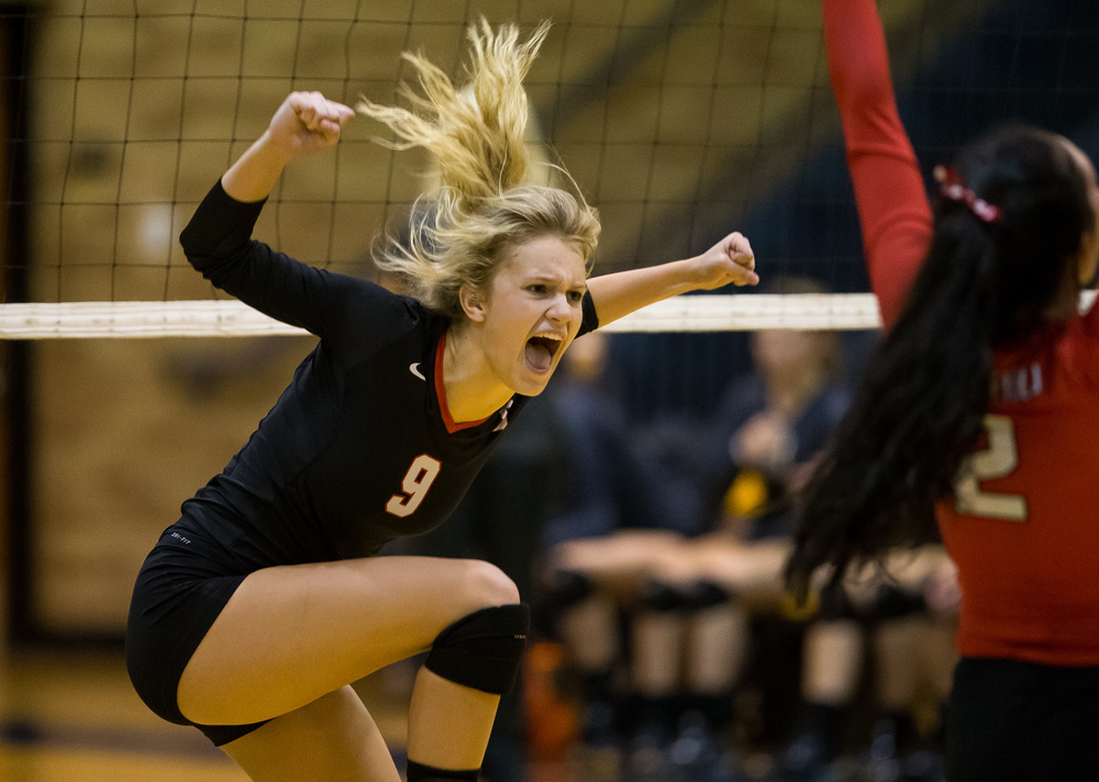 Springfield's Kari Wilhelm (9) is fired up after scoring a kill against Sacred Heart-Griffin during the championship game of the Girls City Volleyball Tournament at Southeast High School, Thursday, Sept. 24, 2015, in Springfield, Ill. Justin L. Fowler/The State Journal-Register