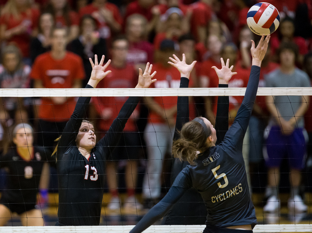 Sacred Heart-Griffin's Eilise Cummins (5) sends a shot over the net against Springfield during the championship game of the Girls City Volleyball Tournament at Southeast High School, Thursday, Sept. 24, 2015, in Springfield, Ill. Justin L. Fowler/The State Journal-Register