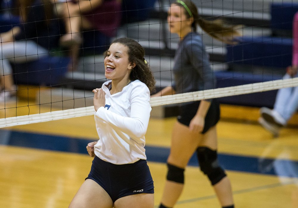 Southeast's Makayla Ewing (9) reacts after making a kill against Lanphier during day three of the Girls City Volleyball Tournament at Southeast High School, Thursday, Sept. 24, 2015, in Springfield, Ill. Justin L. Fowler/The State Journal-Register