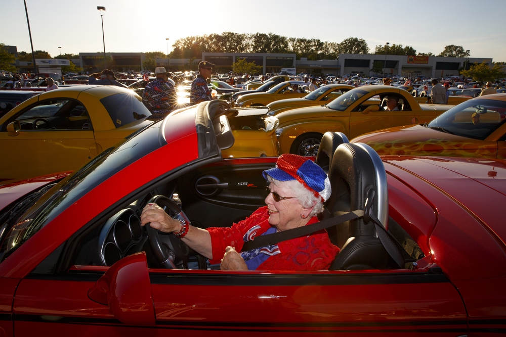Jan Alexander was the driver of the raffle car, a 2004 Chevrolet SSR, in the Route 66 Mother Road Festival cruise Friday, Sept. 25, 2015. Rich Saal/The State Journal-Register
