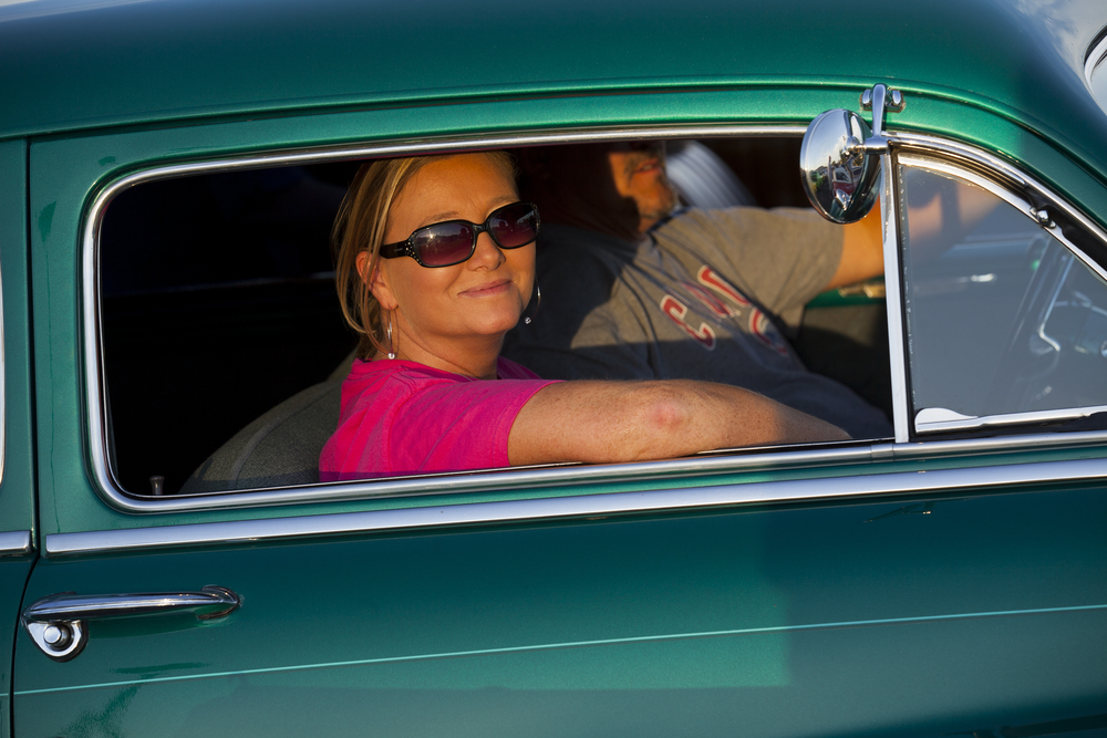Sadie Broyles and Mark Yoggerst drove a 1950 Mercury in the Route 66 Mother Road Festival Friday, Sept. 25, 2015. Rich Saal/The State Journal-Register