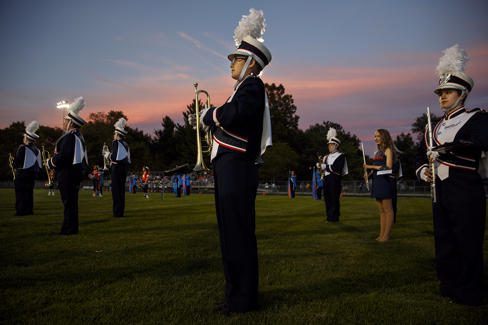 The Rochester High School band stands at attention as they wait for the Rockets to take the field against Southeast at Rochester High School Friday Sept. 25, 2015. Ted Schurter/The State Journal-Register