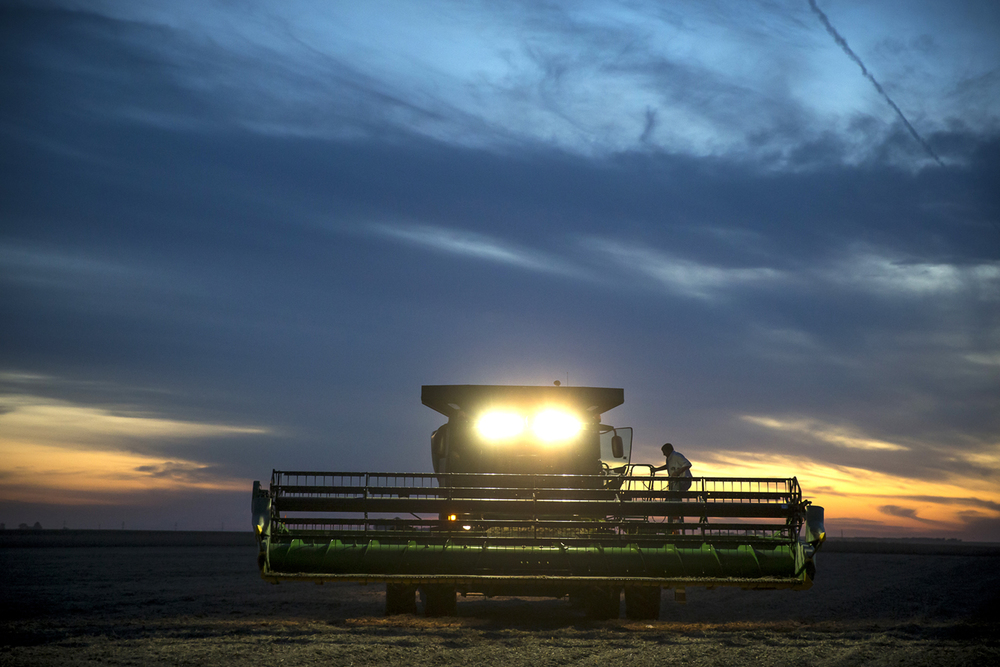 Wayne Cross climbs out of his combine to take a break from harvesting soybeans as the sun sets on his farm, Wednesday, Sept. 23, 2015, near Buffalo, Ill. Cross is optimistic that his soybean crop is in better shape than expected after the federal government declared most of the state a disaster area following spring and summer flooding. Justin L. Fowler/The State Journal-Register