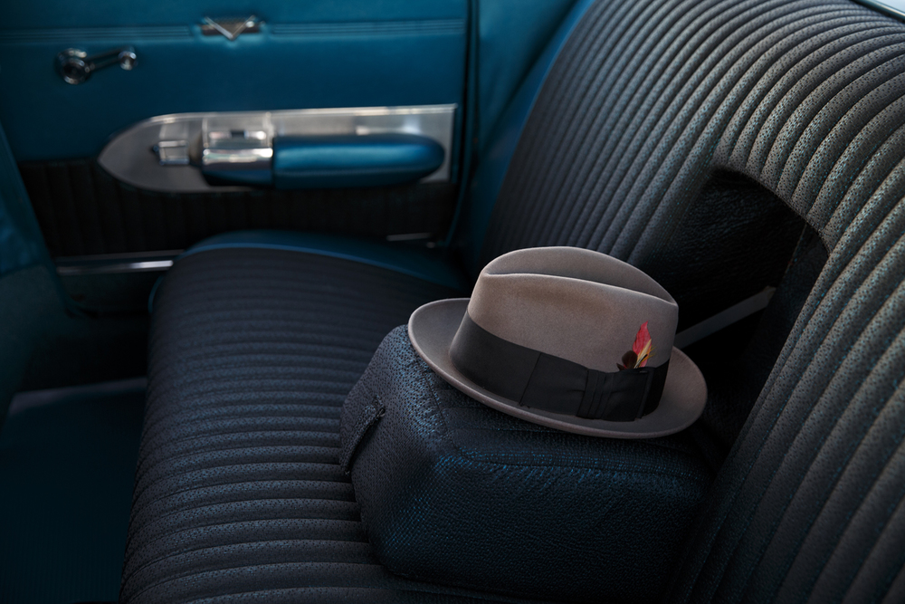 A men's fedora rests in the back seat of a 1959 Cadillac owned by Anthony DiTusa of Westchester, Ill. before the Route 66 Mother Road Festival cruise began Friday, Sept. 25, 2015, in the parking lot of the Capital City Shopping Center. Rich Saal/The State Journal-Register