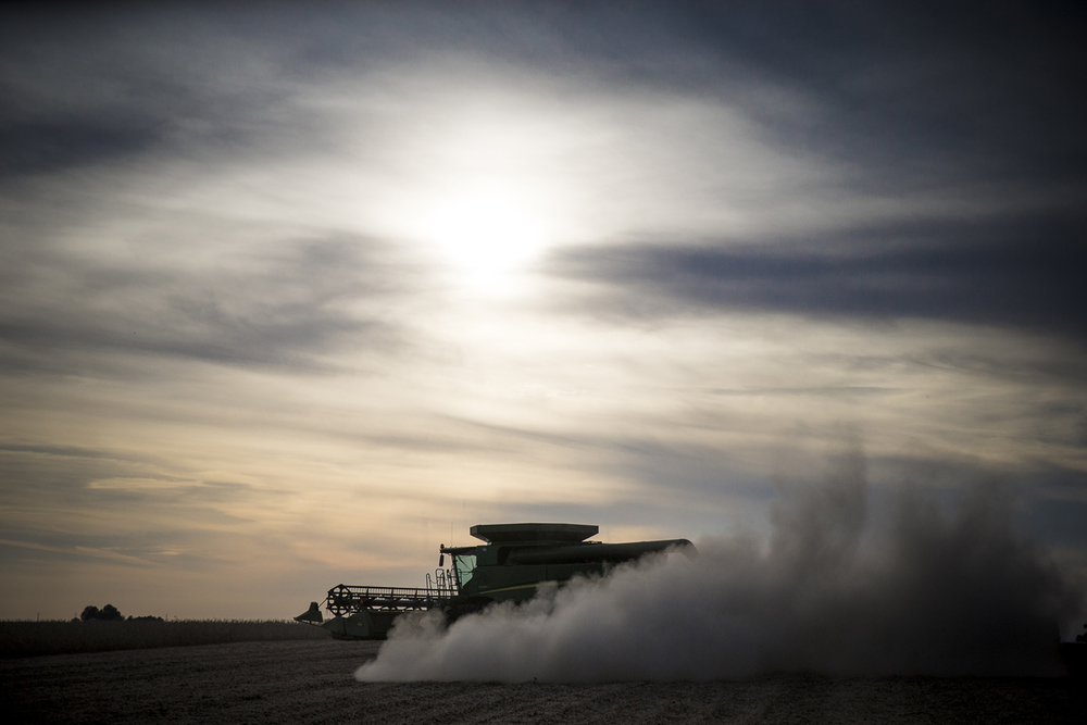 Wayne Cross harvests soybeans near rural Buffalo, Ill. Wednesday, Sept. 23, 2015, extending the working day past dusk. Cross is optimistic that his crop is in better shape than expected after the federal government declared most of the state a disaster area following spring and summer flooding. Justin L. Fowler/The State Journal-Register