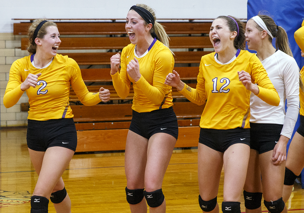 Williamsville's Bridget Rhodes, left, Abbey Galusha, Delaney Edwards and Maggie Sorenson celebrate after the Bullets defeated Rochester during the Sangamon County Volleyball Championship at Pawnee High School Monday Sept. 28, 2015. Ted Schurter/The State Journal-Register