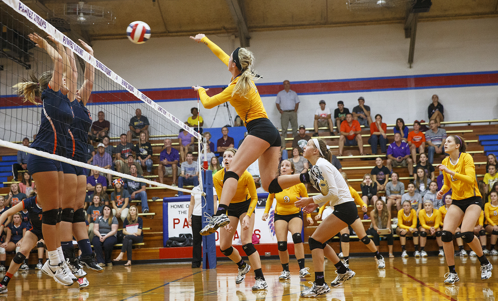 Williamsville's Abbey Galusha notches a kill against Rochester during the Sangamon County Volleyball Championship at Pawnee High School Monday Sept. 28, 2015. Ted Schurter/The State Journal-Register