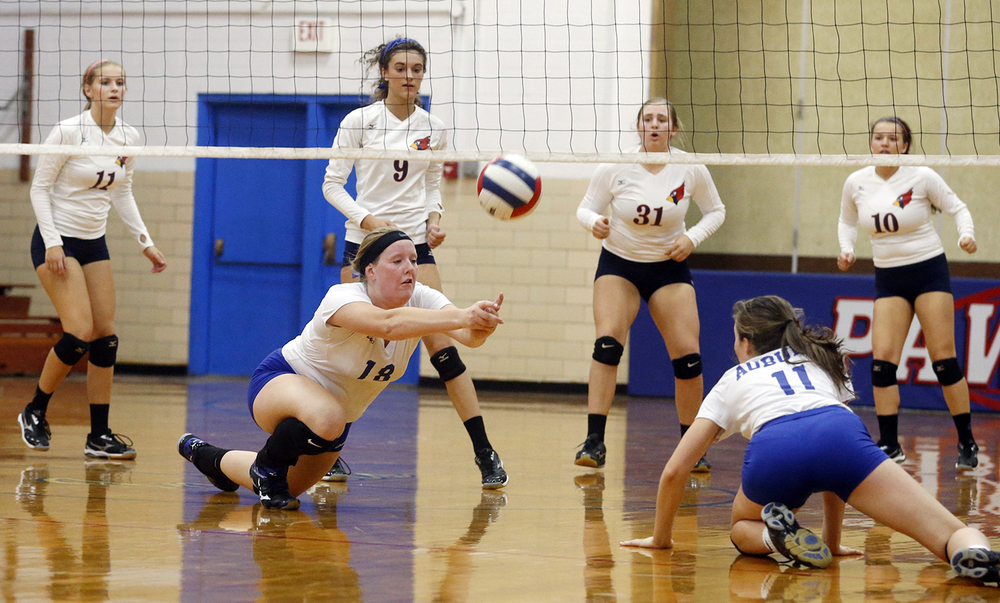 Auburn's Katie Gonterman dives for the ball during the Sangamon County Volleyball Tournament at Pawnee High School Monday Sept. 28, 2015. Ted Schurter/The State Journal-Register
