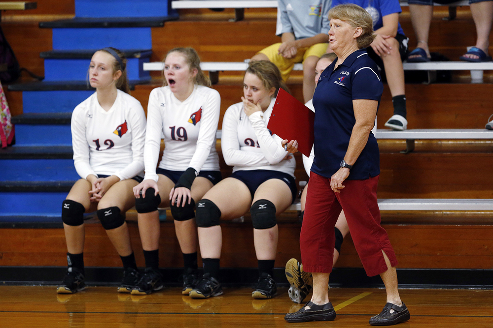 Pleasant Plains head coach Cheryl Ballinger watches the Cardinals defeat Auburrn during the Sangamon County Volleyball Tournament at Pawnee High School Monday Sept. 28, 2015. Ted Schurter/The State Journal-Register