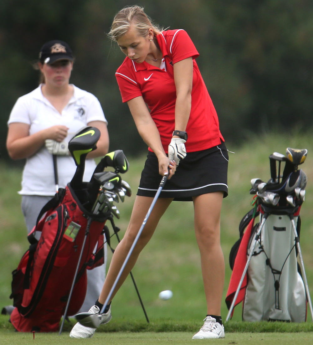 Lincoln's Karrah Dean tees off on the 10th hole Tuesday afternoon. David Spencer/The State Journal-Register