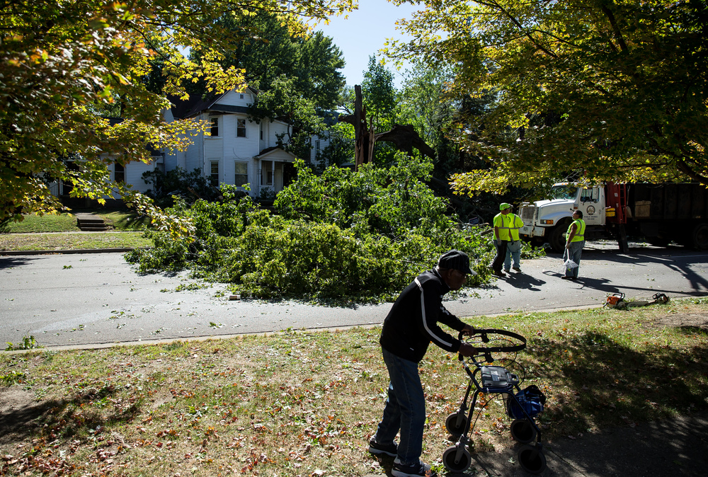 Springfield's Public Works sets up to remove a fallen tree in the 800 block of West Jefferson Street that covered the roadway and injured one when it collapsed, Wednesday, Sept. 30, 2015, in Springfield, Ill. Witnesses said the tree didn't collapse all at once, rather in three different parts over a few minutes. Justin L. Fowler/The State Journal-Register