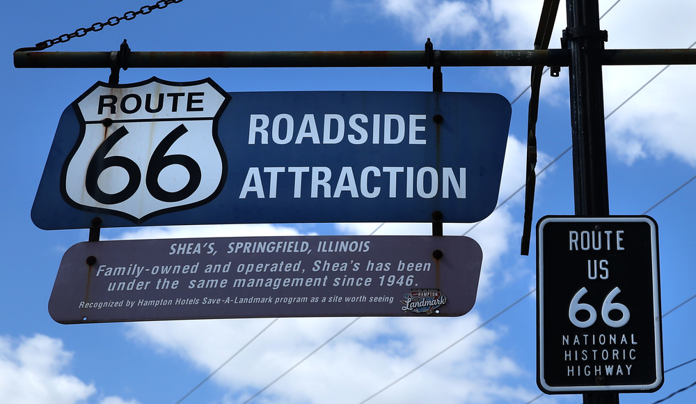 An outdoor hanging sign that will be auctioned seen on Thursday, Oct. 1, 2015 states that Shea's has been under the same management since 1946. David Spencer/The State Journal-Register