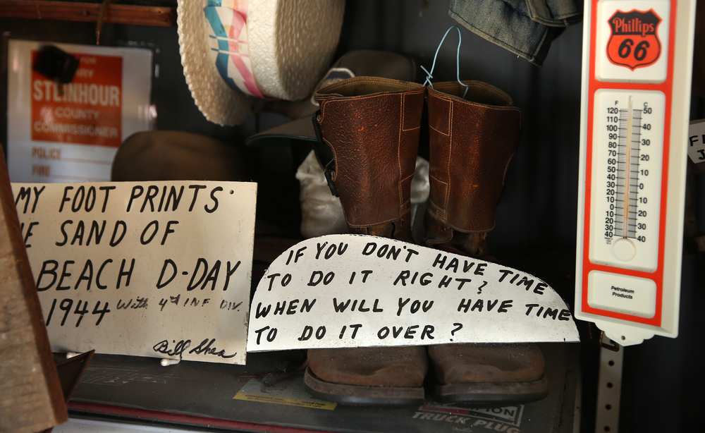 Hand-lettered signs featuring homespun humor and whimsical sayings hang throughout the main museum as well as Mahan's filling station seen here on Thursday, Oct. 1, 2015. David Spencer/The State Journal-Register