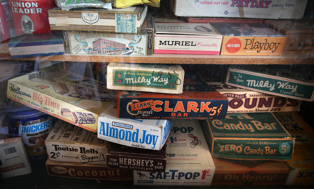 Vintage candy and cigar boxes-some possibly full- await the auctioneers gavel Nov. 21 inside the former Mahan's filling station on the museum property seen Thursday, Oct. 1, 2015. David Spencer/The State Journal-Register
