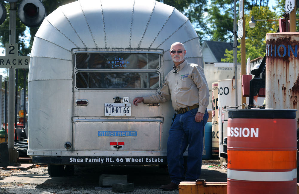 "Auburn auctioneer Darrell Adcock stands behind a 1952 Airstream trailer-part of the ""Shea Family Rt. 66 Wheel Estate"" he will auction on Oct 10 seen here on Thursday, Oct. 1, 2015. David Spencer/The State Journal-Register"