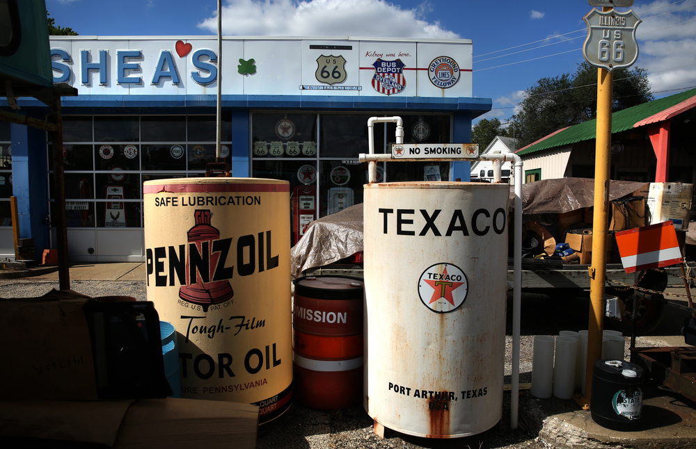 Vintage field fuel tanks are converted into oversized oil filters and displayed outside the main museum will be auctioned Oct. 1 and seen here on Thursday, Oct. 1, 2015. David Spencer/The State Journal-Register
