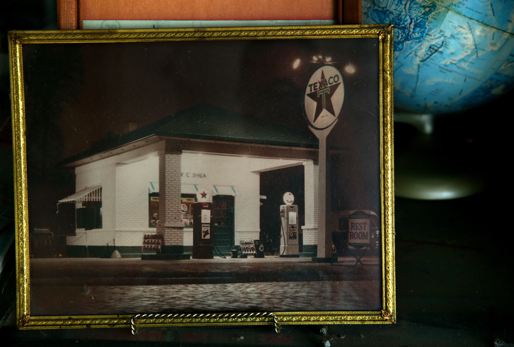 A vintage color nighttime view shows Bill Shea's original Texaco station located at 2001 Peoria Rd. (Route 66) displayed inside the former Mahan's filling station on the museum grounds on Thursday, Oct. 1, 2015. David Spencer/The State Journal-Register
