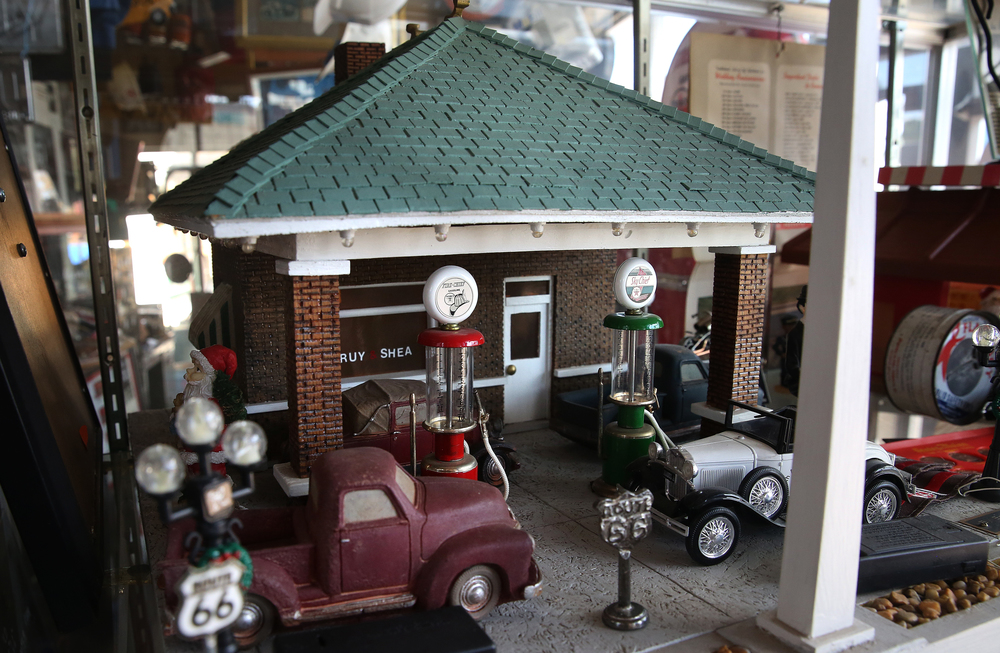 A model of Bill Shea's original Texaco station located at 2001 Peoria Rd. (Route 66) is displayed inside the main museum seen here on Thursday, Oct. 1, 2015. David Spencer/The State Journal-Register