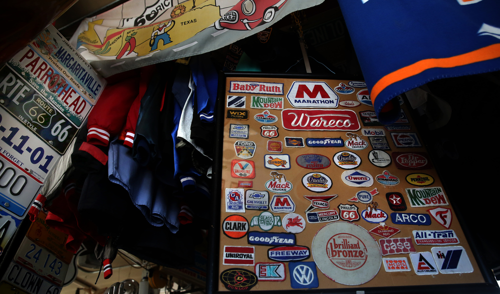 Clothing and a board of cloth automotive and gasoline patches are seen inside the main museum on Thursday, Oct. 1, 2015. David Spencer/The State Journal-Register