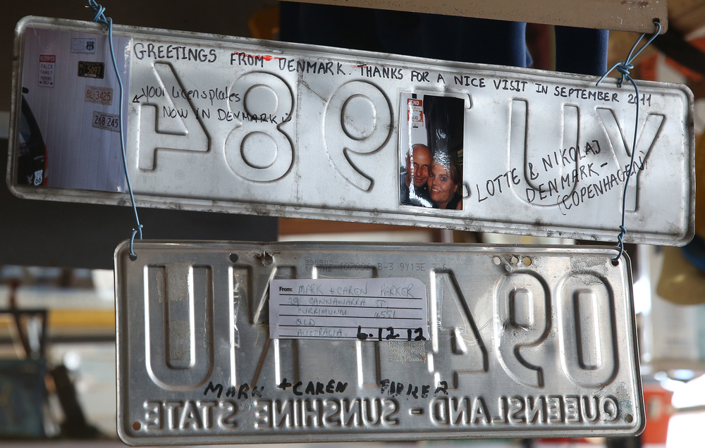 A signed modern liscense plate from Denmark is one of many hanging inside the main museum on Thursday, Oct. 1, 2015. Visitors from 90 countries have come to the museum when it was open. David Spencer/The State Journal-Register