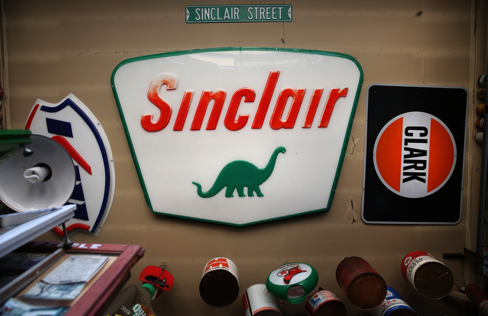 A vintage Sinclair sign hangs face down on the ceiling of the main museum on Thursday, Oct. 1, 2015. David Spencer/The State Journal-Register