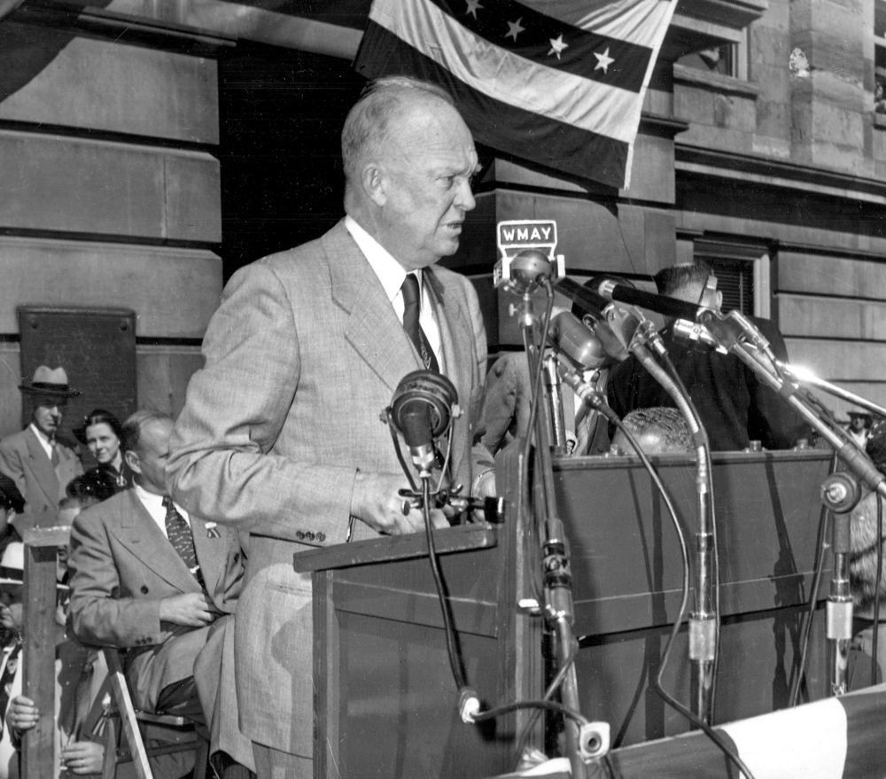 "Dwight Eisenhower, Republican presidential nominee, spoke out against the Korean War, pledging to bring ""strength to America at home and peace abroad,"" on Oct. 2, 1952 at the Old State Capitol, then the Sangamon County Courthouse.  file/The State Journal-Register"