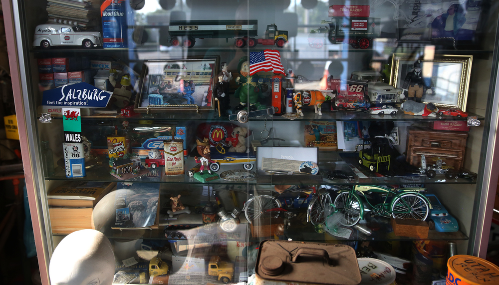 Collectibles are behind glass in a display case inside the main museum seen on Thursday, Oct. 1, 2015.  David Spencer/The State Journal-Register