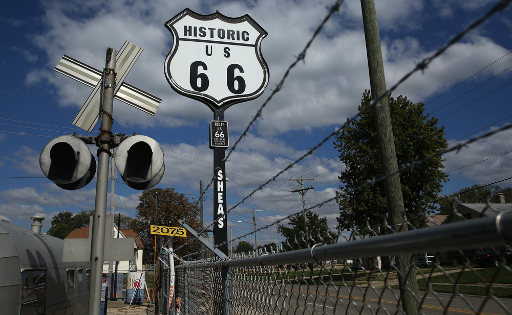 "An original 15' Phillips 66 gas station sign originally located at a station in Clinton, ILL was repainted with ""Historic U S 66"" and marks the location of the present Shea's museum outside Route 66 at 2075 Peoria Rd. seen on Thursday, Oct. 1, 2015.  David Spencer/The State Journal-Register"
