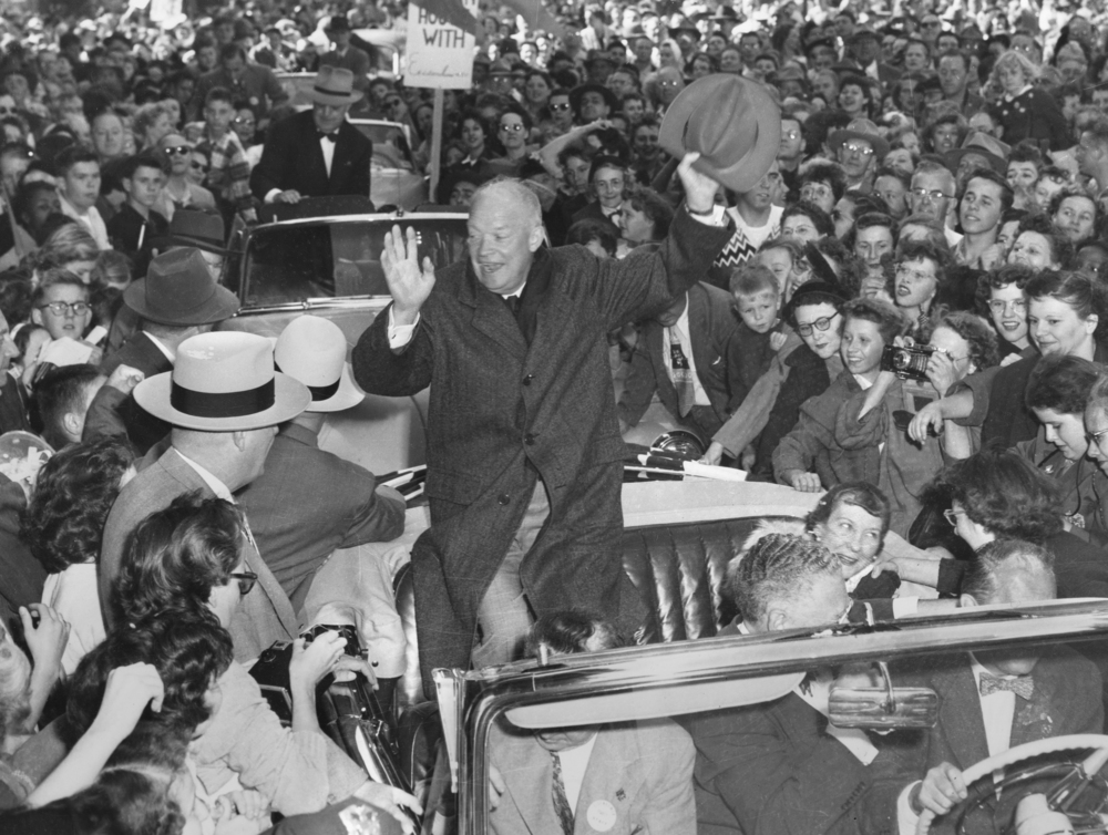 Dwight Eisenhower, Republican party nominee for president, campaigns in Springfield October 2, 1952 with wife Mamie. File/The State Journal-Register