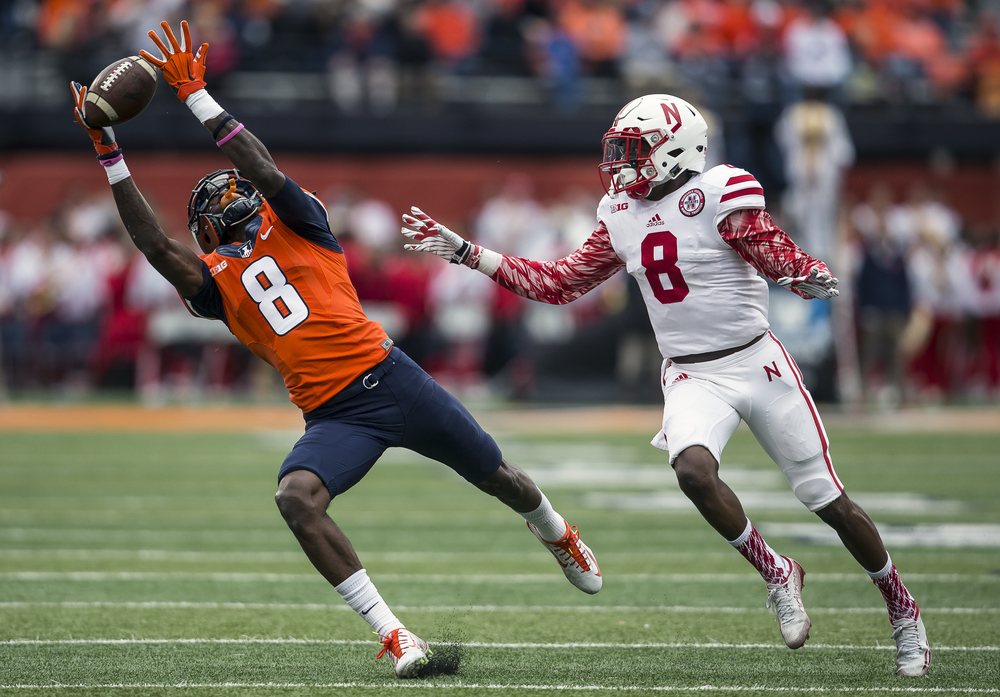 Illinois Fighting Illini wide receiver Geronimo Allison (8) has a pass go through his hands while being covered by Nebraska Cornhuskers defensive back Chris Jones (8) in the second quarter at Memorial Stadium, Saturday, Oct. 3, 2015, in Champaign, Ill. Justin L. Fowler/The State Journal-Register