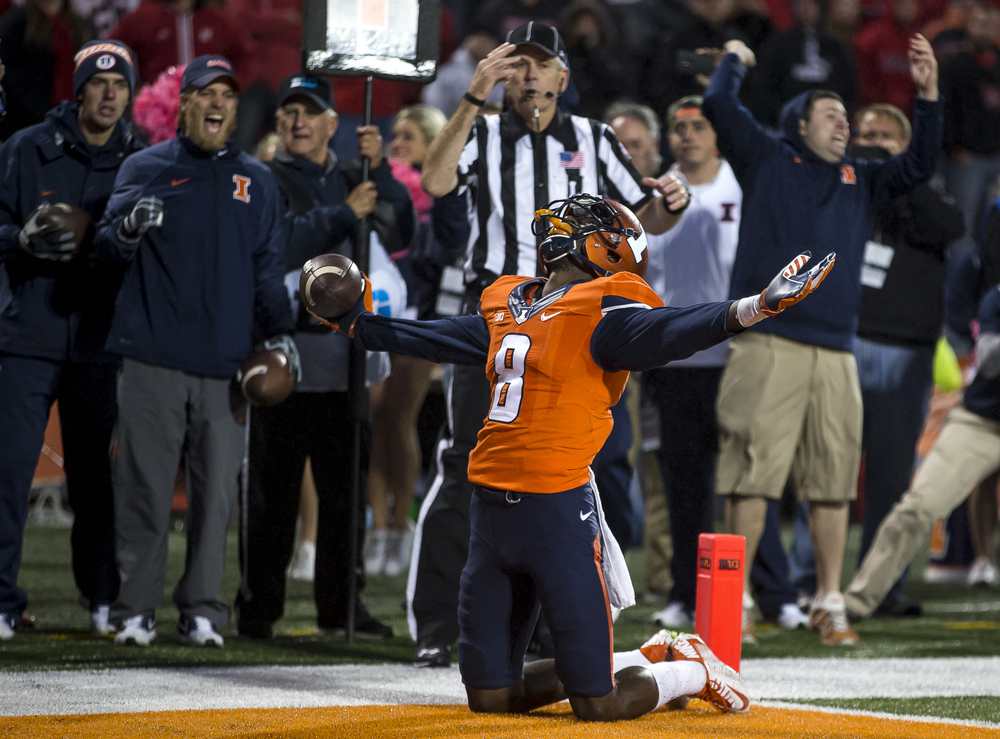 Illinois Fighting Illini wide receiver Geronimo Allison (8) reacts after making a touchdown catch against Nebraska to tie the game 13-13 in the closing seconds of the fourth quarter at Memorial Stadium, Saturday, Oct. 3, 2015, in Champaign, Ill. Justin L. Fowler/The State Journal-Register