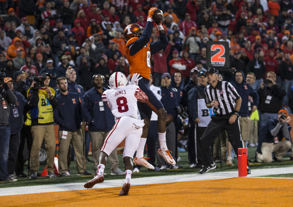 Illinois Fighting Illini wide receiver Geronimo Allison (8) is forced out of bounds for an incompletion against Nebraska Cornhuskers defensive back Chris Jones (8) in the end zone in the fourth quarter at Memorial Stadium, Saturday, Oct. 3, 2015, in Champaign, Ill. Justin L. Fowler/The State Journal-Register
