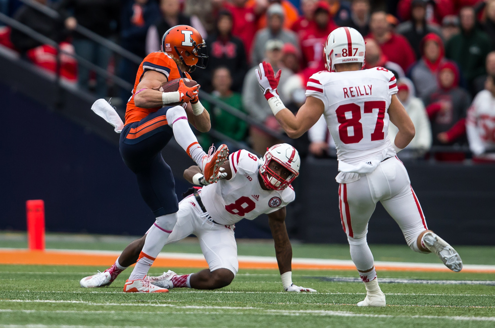 Illinois Fighting Illini defensive back Clayton Fejedelem (20) intercepts a pass intended for Nebraska Cornhuskers wide receiver Stanley Morgan Jr. (8) in the third quarter at Memorial Stadium, Saturday, Oct. 3, 2015, in Champaign, Ill. Justin L. Fowler/The State Journal-Register