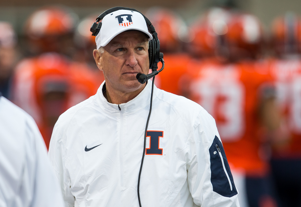 Illinois Fighting Illini head coach Bill Cubit glances up to the scoreboard as the Illini take on Nebraska in the third quarter at Memorial Stadium, Saturday, Oct. 3, 2015, in Champaign, Ill. Justin L. Fowler/The State Journal-Register