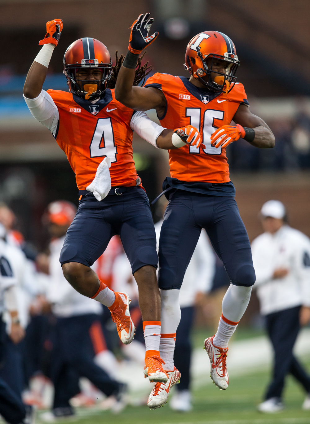 Illinois Fighting Illini wide receiver Marchie Murdock (16) celebrates his touchdown with wide receiver Dionte Taylor (4) in the fourth quarter against Nebraska at Memorial Stadium, Saturday, Oct. 3, 2015, in Champaign, Ill. Justin L. Fowler/The State Journal-Register